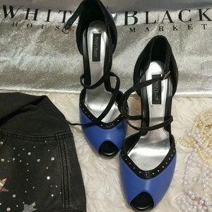 WHBM Peeptoe Heels Periwinkle & Black 8 !